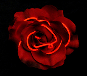 Red EL Wire Rose Pin
