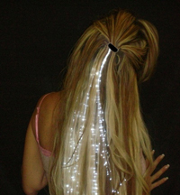 glowing fiber optic hair barrette